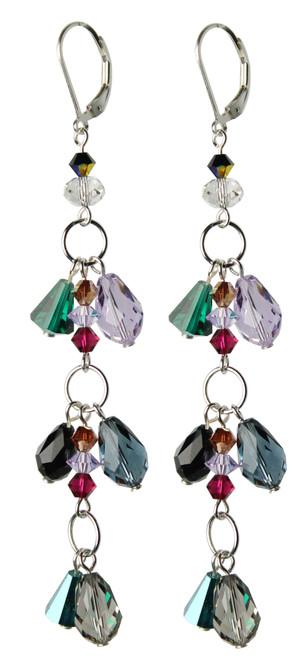 Sterling Silver Swarovski Crystal Long Fringe Dangle Earrings • City Chic