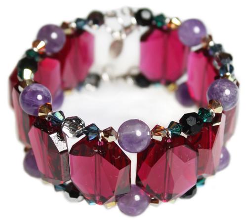 Limited Edition Swarovski Crystal Ruby Cuff Bracelet - City Chic