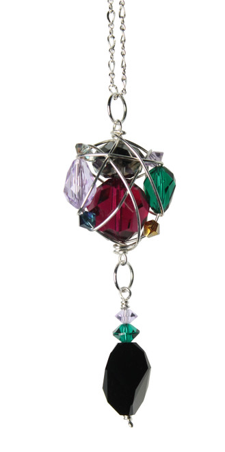 Limited Edition Sterling Silver Swarovski Crystal Caged Cluster Pendant Necklace - City Chic