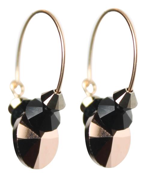 Limited Edition 14K Gold Filled Swarovski Crystal Metallic Rose Gold Hoop Earrings