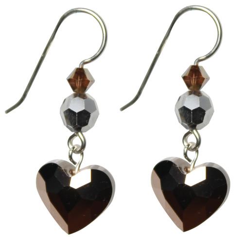 Limited Edition 14K Gold Filled Swarovski Crystal Metallic Rose Gold Heart Earrings