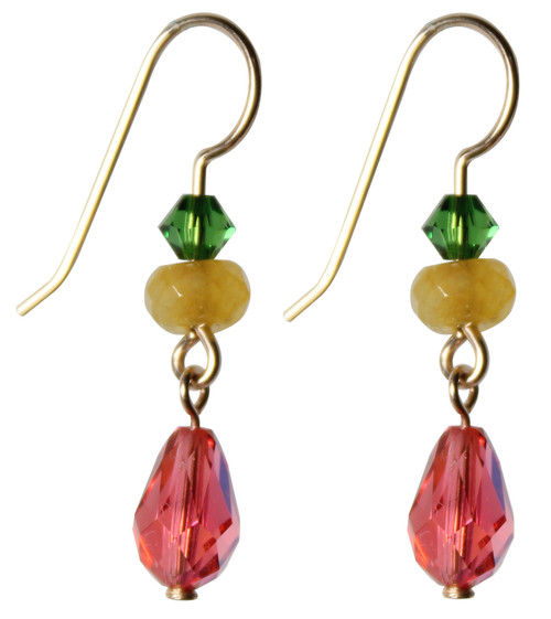 14K Gold Filled Swarovski Crystal Dangle Earrings - Confectionary