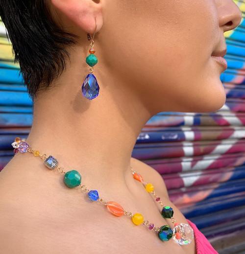 14KGF Swarovski Crystal Earrings & Vintage Swarovski 18mm Sapphire & 8mm Apple Green - Confectionary