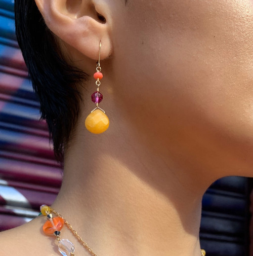 14K Gold Filled Semi Precious Wire Wrapped Earrings - Confectionary
