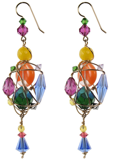 One of a Kind 14K Gold Filled Swarovski Crystal Gaged Statement Earrings - Confectionary