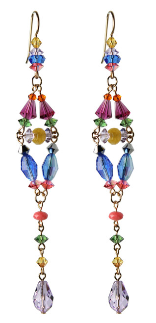 One of a Kind 14K Gold Filled Swarovski Crystal Divine Statement Earrings - Confectionery