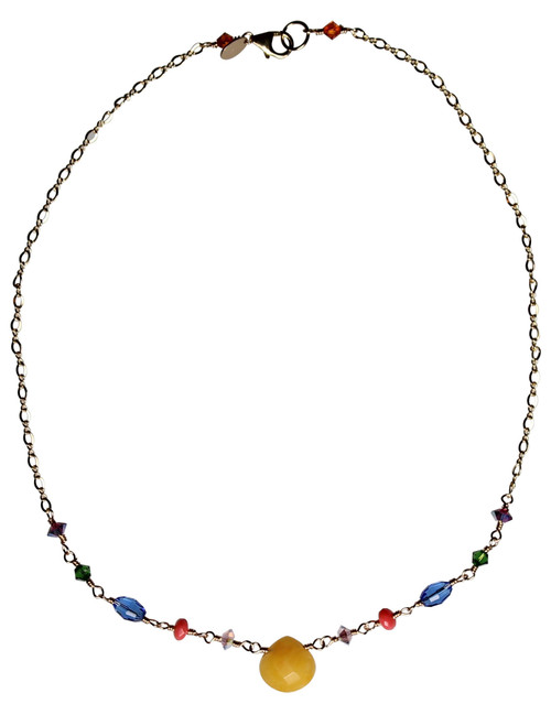 14K Gold Filled Semi Precious & Swarovski Crystal Necklace - Confectionery