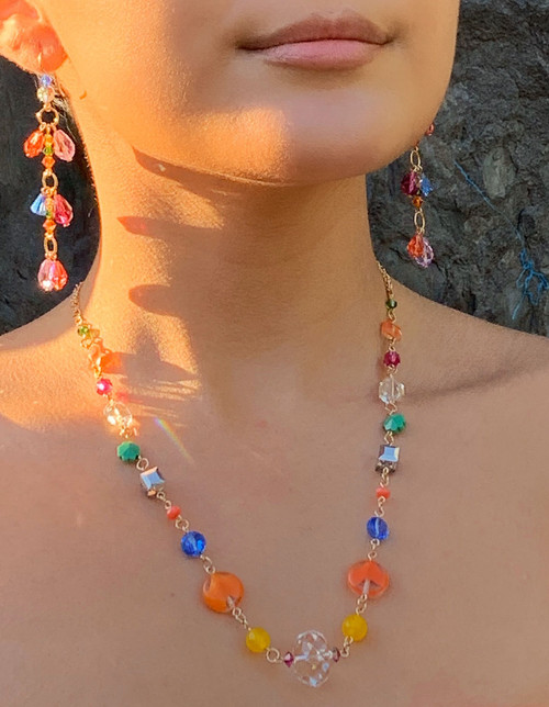 Limited Edition 14KGF Semi Precious, Venetian glass & Swarovski Crystal Necklace -Confectionary