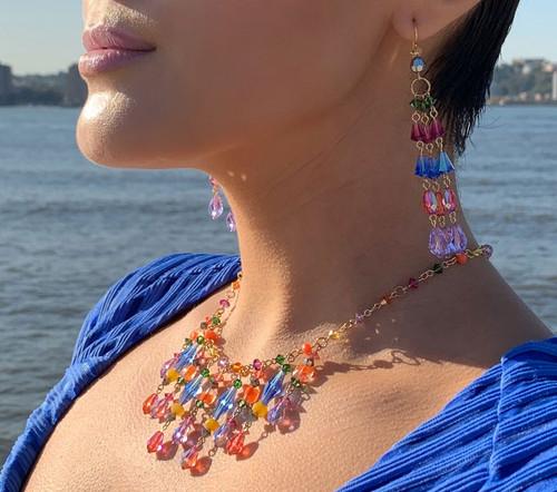 14K Gold Filled Semi Precious, Venetian glass & Swarovski Crystal Fringe Necklace - Confectionary
