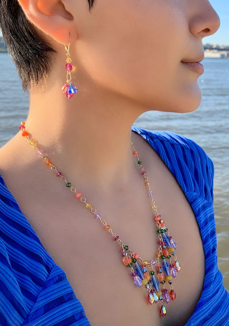 14K Gold Filled Semi Precious, Venetian glass & Swarovski Crystal Fringe Necklace - Confectionary