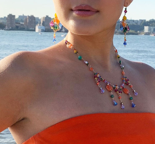 14K Gold Filled, Semi Precious, Venetian Glass & Swarovski Crystal Divine Necklace - Confectionary