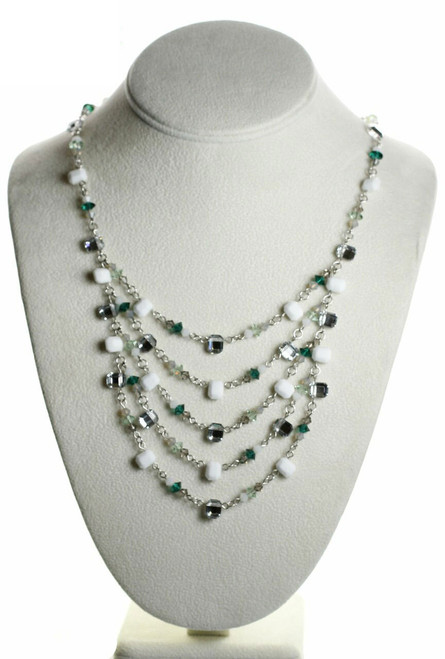 Sterling Silver Swarovski Crystal with Vintage Chalk White Layer Necklace - Mint