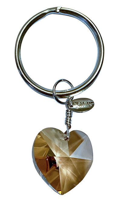 Sterling Silver & Swarovski Crystal Heart Key Chain/Bag Charm - Champaign