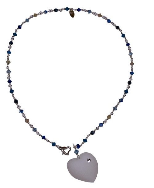 Sterling Silver Swarovski Crystal Heart Necklace - Blue