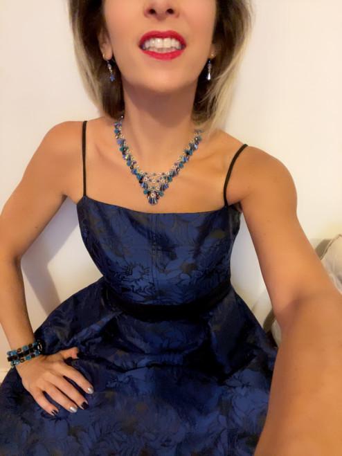 Sterling Silver Swarovski Crystal V Statement Necklace - Blue
