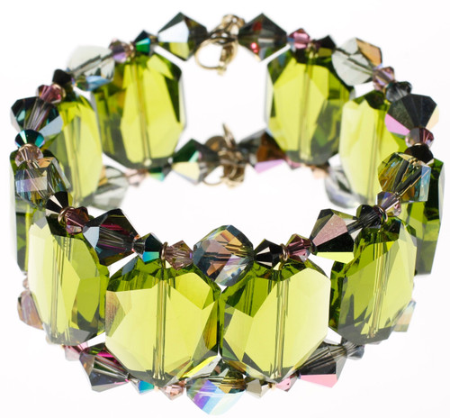 14K Gold Filled Swarovski Crystal Cuff Bracelet - Northern Lights