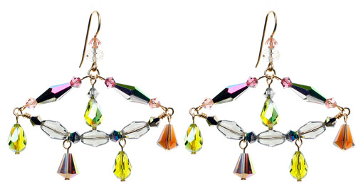 14K Gold Filled Swarovski Crystal Triangle Chandelier Earrings - Northern Lights