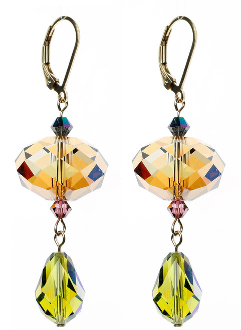 14K Gold Filled Swarovski Crystal Drop Earrings - Northern Lights