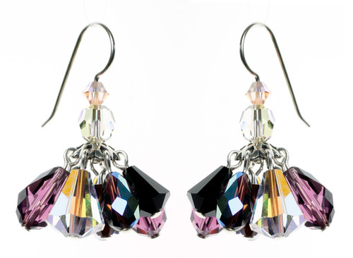 Sterling Silver Swarovski Crystal Mini Chandelier Cluster Drop Earrings - Duchess