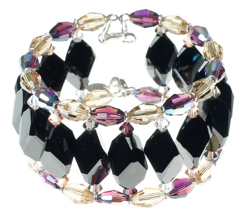 Black Swarovski Crystal Cuff Bracelet with Sterling Silver - Duchess
