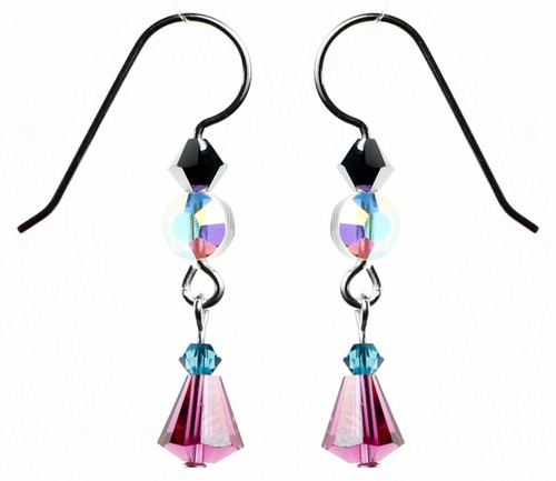 Sterling Silver Swarovski Crystal Fuchsia Simple Drop Earrings - Carnival