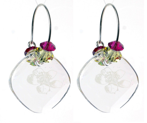 Sterling Silver Swarovski Crystal Vintage Hoop Earrings - Carnival
