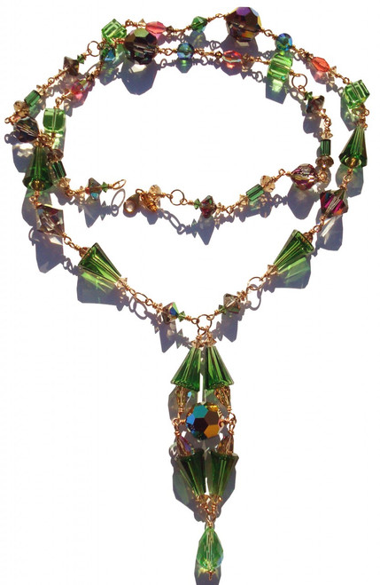 Extra long one of a kind Swarovski crystal necklace on gold filled and incorporating many vintage crystals