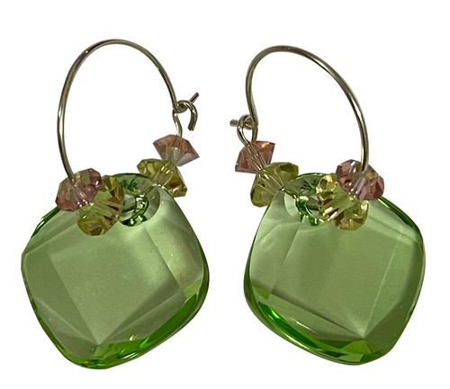 Sterling Silver Swarovski Crystal Spring Green, Pink & Yellow Hoop Earrings #Pastels
