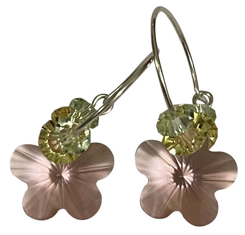 Sterling Silver Swarovski Crystal Spring Pink, Green & Yellow Flower Hoop Earrings #Pastels
