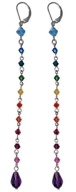 14k Gold Filled Shoulder Duster Rainbow Colored Earrings Made with Crystals From Swarovski