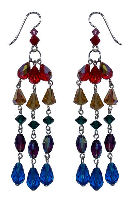 Sterling Silver 3-Strand Rainbow Colored Earrings Made with Crystals From Swarovski