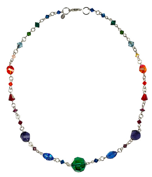 Sterling Silver Rainbow Statement Necklace made with Crystals From Swarovski