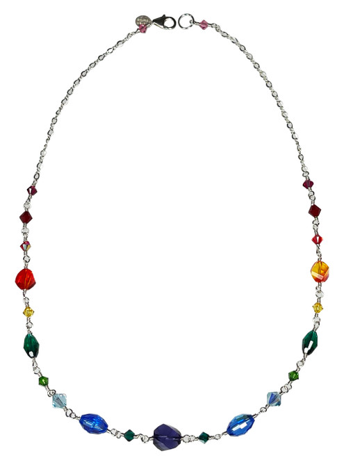 Sterling Silver Rainbow Chain Necklace made with Crystals From Swarovski