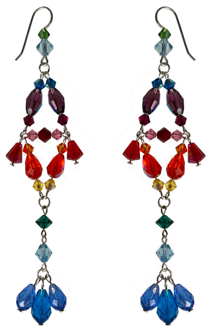 Sterling Silver Divine Style Statement Rainbow Earrings made with Crystals From Swarovski