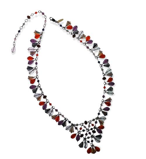 Limited Edition Multi Colored Swarovski Crystal 14k Gold Filled Signature style V necklace