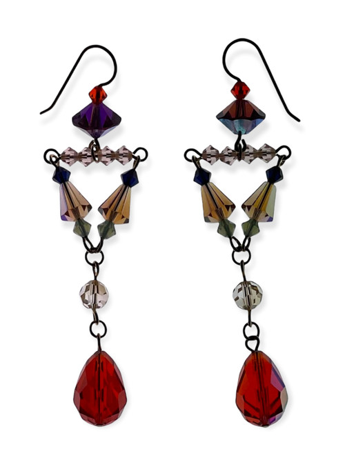 Limited Edition 14K Gold Filled Divine Statement Earrings with Hyacinth & Champagne Vintage Swarovski Crystals