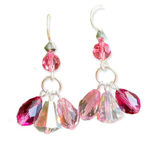 Shades of Pink Swarovski Crystal Triple Drop Dangle Earrings on Sterling Silver