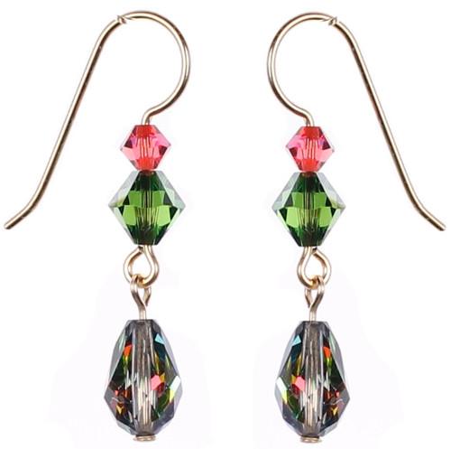 14k Gold Filled Special Effects Swarovski Crystal Earrings with Vintage Swarovski - Mediteranee