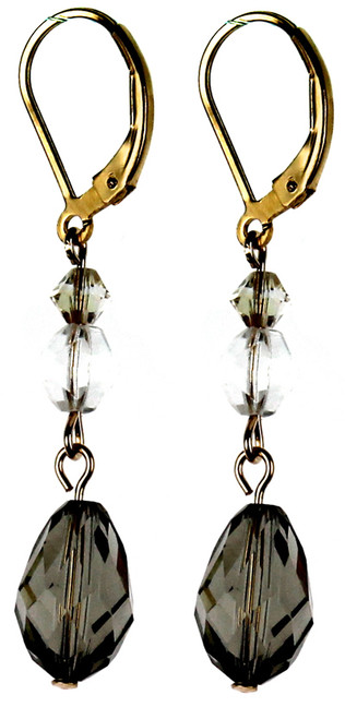 Classic Black Diamond drop earrings made with rare Swarovski Elements by Karen Curtis NYC.