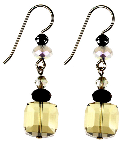 These earrings are made by Karen Curtis NYC with Swarovski Elements creating a sophisticated look with various shapes