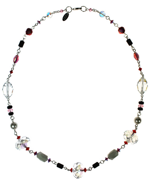 Oversized Crystals make this Valentine's Day necklace the perfect statement piece which can be worn with any outfit.  Sterling Silver finishings mixed with an amazing color combination of Swarovski Crystals, all on a single easy to wear strand.