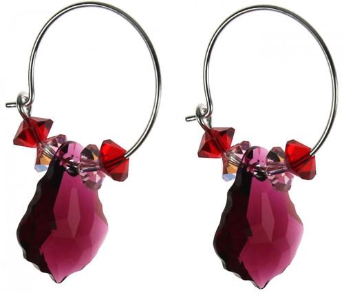 Swarovski crystal ruby hoop earrings Amore collection