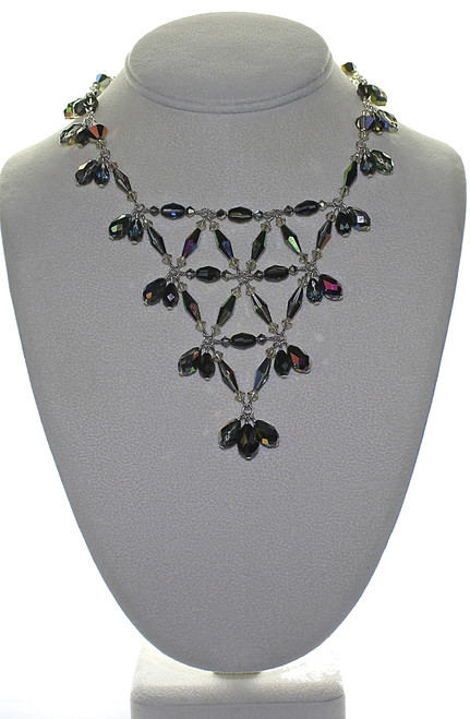 Beautiful weave of crystals and sterling silver make this necklace the right choice for fashionable events.