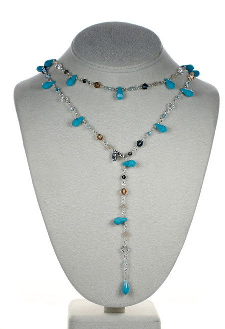 "Karen Curtis Jewelry - 38"" turquoise crystal and sterling silver necklace"