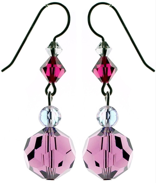 Amethyst Swarovski Crystal earrings from the Roaring 20's jewelry collection by Karen Curtis