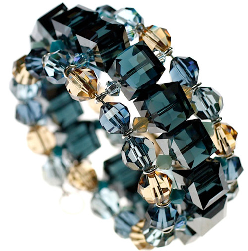 Blue Swarovski crystal cuff bracelet - Karen Curtis jewelry collections