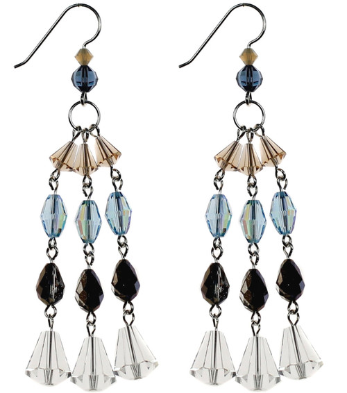 Chandelier earrings made with all Rare Swarovski crystal by Karen Curtis NYC
