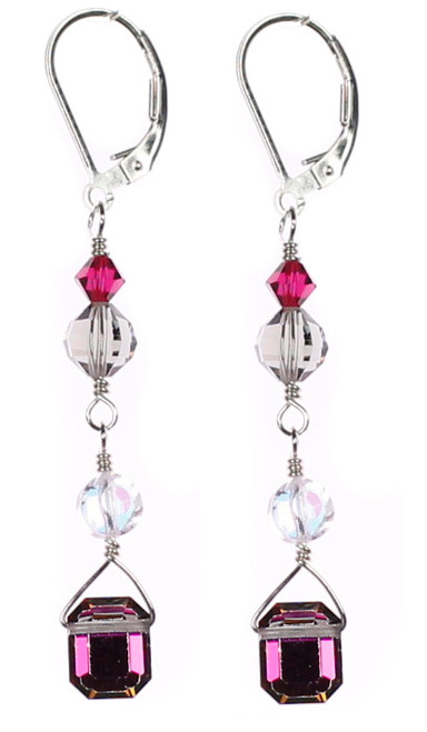Beautiful Earrings handmade by Karen Curtis NYC.  Vitral medium emerald cut Warovski crystal