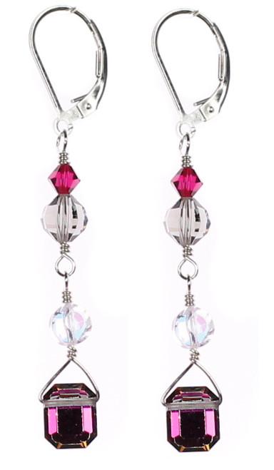 Beautiful Earrings handmade by Karen Curtis NYC.  Vitral medium emerald cut Warovski crystal