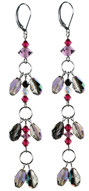 Karen Curtis NYC original design • Swarovski crystal 3 tier earrings on sterling silver • Roaring 20's collection